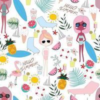Cute summer sunny day cartoon pattern vector