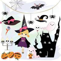 Cute sweet halloween witch cartoon vector