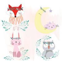 Sticker of fox, rabbit, bear, owl. Garden style vector
