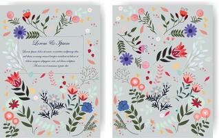 Cute sweet blue wild floral flower frame for wedding card vector