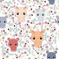 Cute rabbits in flower garden seamless pattern vector