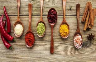 Various herbs and spices on wooden table photo