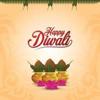 feliz diwali el festival de la tarjeta de felicitación de celebración de la luz con kalash creativo vector