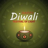 Happy diwali vector illustration and pattern background with diwali diya