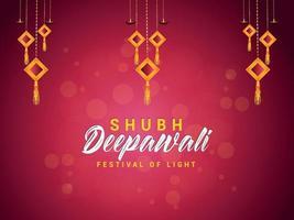 Happy deepawali celebration greeting card with vector illustration