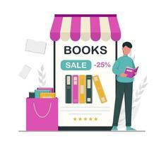 Book lover, reading, library concept vector
