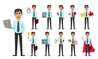 Business man, set of eleven poses. vector