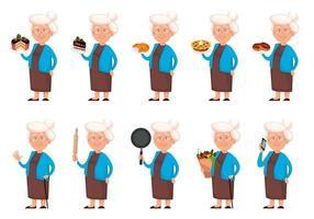 Grandmother cartoon character, set of ten poses vector