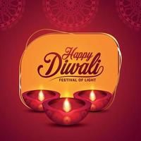 Happy diwali indian festival , happy diwali the festival of light vector