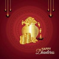 Feliz celebración del festival indio de dhanteras tarjeta de felicitación con ilustración vectorial olla de monedas de oro vector