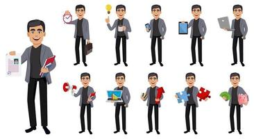 Handsome business man cartoon character vector