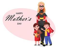 Beautiful woman in superhero costume with her kids vector