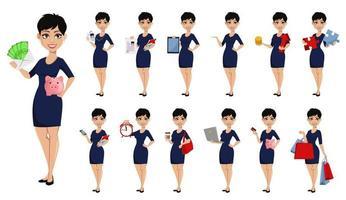 Feliz mujer de negocios moderna con corte de pelo corto vector