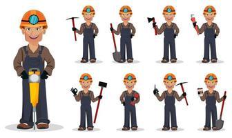 Miner man, mining worker. Cartoon character vector