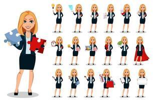 mujer de negocios, en, oficina, estilo, ropa, conjunto vector