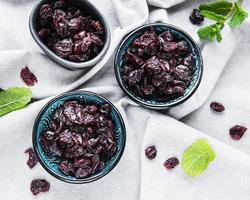 Top view of dried cherries photo