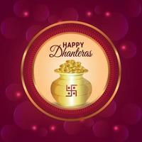 shubh dhanteras ilustración vectorial de olla de monedas de oro y flor de guirnalda vector