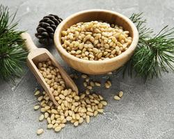 Pine nuts on a table photo