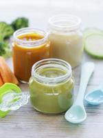 Jars of vegetable puree photo