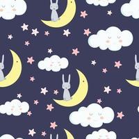 Cute rabbit in cloud cartoon seamless pattern vector