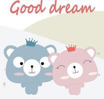 Cute spring teddy bears saying good dream vector