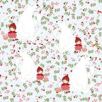Cute red hood girl and polar bear seamless pattern vector