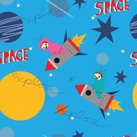Cute astronaut cartoon seamless pattern vector