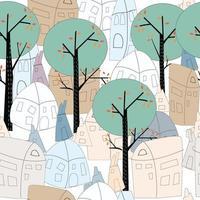 Cute seamless green town pattern vector
