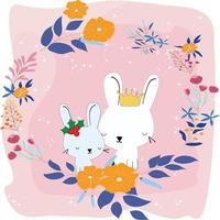 Cute rabbits in the flower frame vector