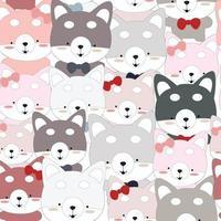 Cute Siberian Husky dog seamless pattern vector