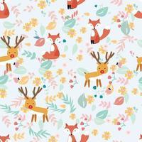 Cute reindeer and fox in sping garden vector