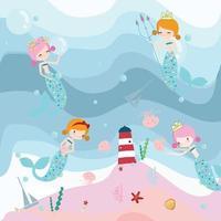 Cute sweet pink and blue mermaid