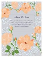 Cute sweet orange and blue wild floral frame for wedding card vector