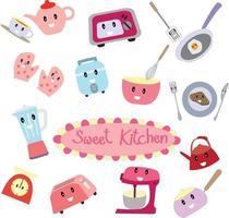 Cute sweet kitchen cartoon vector