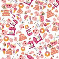 Cute sweet pink bakery items seamless pattern vector