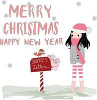 Cute Merry Christmas girl cartoon comic doodle vector