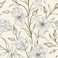 Floral seamless pattern. Flourish tiled background. Sketch drawing ornament with flowers iris vector