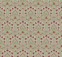 Floral seamless fabric pattern. Flourish tiled oriental ethnic background. Arabic ornament with fantastic flowers and leaves. vector