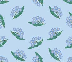 Spring floral seamless pattern. Blue flower forget-me-not ornamental background. vector