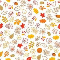 Autumn leaves seamless pattern. Leaf icon set in ornamental tile background. Fall nature backdrop in line art style. vector