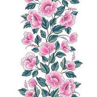Floral background. Flower rose bouquet seamless decorative garland border. Flourish spring floral greeting card frame design vector
