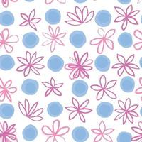 Seamless floral pattern with polka dot ornament. Stylish drawn dotted backdrop with flowers. Abstract textured circle and flowers ornament. vector
