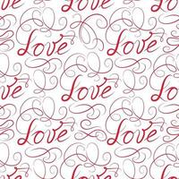 Love seamless pattern. Doodle ornamental calligraphic vignette background with handwritten lettering LOVE. vector