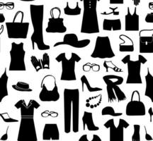 Fashion cloth seamless pattern. Women clothes and accessories. Retail tile dress sale background vector