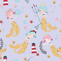 Cute pink and blue mermaids cartoon seamless pattern vector