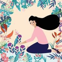 Girl in Botanical tropical flower garden vector