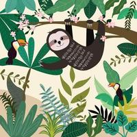 Cute sloth in spring summer forest vector
