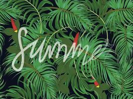 banner de patrones sin fisuras de licencia tropical verde vector