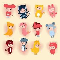 Cute Happy new year Chinese 12 animal horoscope cartoon vector