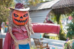 A welcoming scarecrow with a grinning Jack-o-lantern head sits on a pumpkin pile and points the way. photo